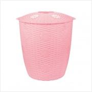 Корзина д/белья 45л ПЛЕТЕНКА круглая розовая *5 (Альтернатива) фото