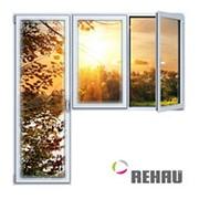 Балконный блок ПВХ Rehau 2100х2100 мм 2-ЛГ-ППО 1 стеклопакет фото