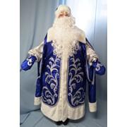 Костюм Дед Мороз Царский (парча, аппликация) синий фото
