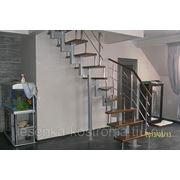 Модульная лестница, ступени дубовые фото