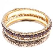 Браслет-кольца 4 кольца Узор , цвет серый в золоте фото