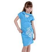 a5b0c9d0f9f Красивое летнее платье голубого цвета с коротким рукавом 116 фото