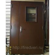 Дверь металлическая противопожарная двустворчатая остекленная EIS-60 2200х1300 фото