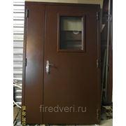 Дверь металлическая противопожарная двустворчатая остекленная EIS-60 2200х1900 фото