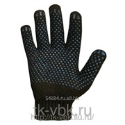 Перчатки рабочие хлопчато-бумажные с ПВХ черные 5 нитка, 10 класс фото