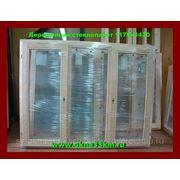 Деревянное окно со стеклопакетом размер 1170х1470(трехстворчатое) ДВЕ СТВОРКИ ОТКРЫВАЮТСЯ фото
