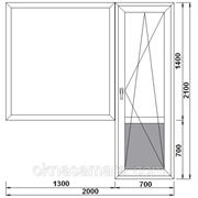 Балконный блок с одностворчатым глухим окном 2000*2100 Rehau, однокамерное фото