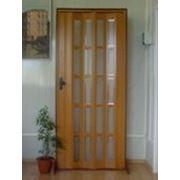Дверь с витражами до пола. Цвет бук. 203х86 фото