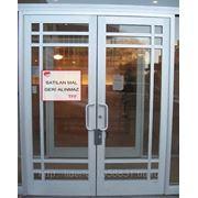 Алюминиевые двери одинарные и двойные фото