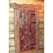Дверь резная с наличником в стиле корнепластики фото