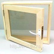 Оконный блок банный (липа) 400*400*90 фото
