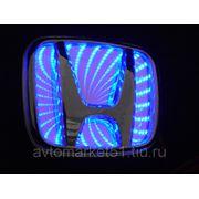 Эмблема светодиодная 3D HONDA 9,8х8см. Blue