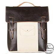 """Кожаный рюкзак """"Школьник"""" (коричневый с белым) фото"""