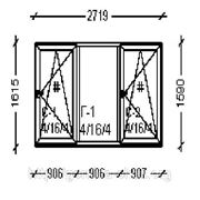 Металлопластиковое окно (тройник)
