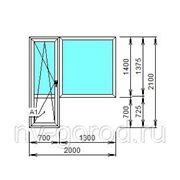 Балконный блок Ortex 6-тикамерный, 2000*2100, тип фурнитуры Siegenia Favorit (Германия) фото