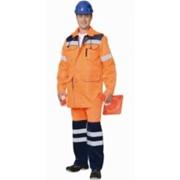 Куртка Магистраль-дорожник удлиненная оранжевая с темно-синей отделкой и СОП фото