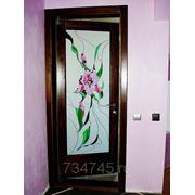 Витраж декоративный в деревянной двери фото