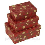"""Комплект коробок из 3шт. """"Горошек"""" 280-018 фото"""
