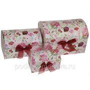 """Комплект коробок-сундучков из 3-х шт. """"Розы"""" 25*17*17см 603-014 фото"""