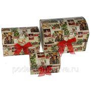"Комплект коробок-сундучков из 3-х шт. ""Новогодний"" 25*17*17см 603-997 фото"