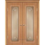 Межкомнатные двери ПВХ Геона модель Элегия (стекло пескоструйное) остекленные фото