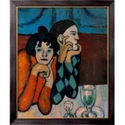 Картина Арлекин и его партнер,1901 , Пикассо, Пабло фото