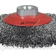 Щетка Stayer чашечная для УШМ, витая стальная проволока 0,3мм, 150мм/М14 Код:35261-150 фото
