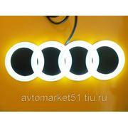 Эмблема светодиодная 4D AUDI A3 18,5x5,85см. White фото