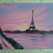 Картина написанная маслом Париж в закате фото
