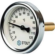 """Термометр биметаллический с погружной гильзой Ø 63мм/ L75 мм/120С/1/2"""" STOUT фото"""
