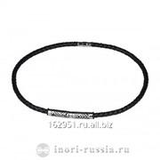 Ожерелье кожаное черного цвета со стальной вставкой по центру Артикул PCC295 BBlack