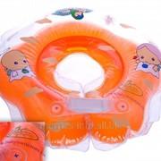 Круг на шею Baby Swimmer для купания детей от 0 до 24 месяцев оранжевый полуцвет+погремушка ;BS02O-B фото