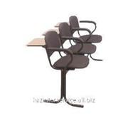 Блок стульев, 3-х мест., пюпитры, подлокотники, откидные сидения, ткань, кожа фото