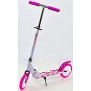 Супер !!!Самокат Scooter алюминиевый розовый (колеса 20 см) фото