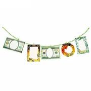 Набор фоторамок -- с прищепками на веревке Деньги 5рамок+5прищепок, веревка