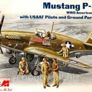 Модель ICM 1/48 Мустанг Р-51B, американский истребитель ІІ МВ с пилотом и механиками фото