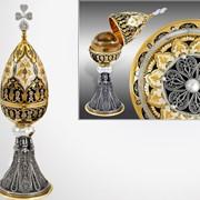 Яйцо пасхальное на филигранной ножке, Сувенирное изделие, Ювелирное изделие, Позолоченные изделия фото