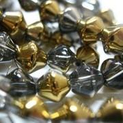 Бусины биконус кристалл с половинным напылением Золото Металлик 6мм (нить 33см) фото