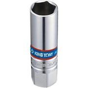"""Головка свечная шестигранная 3/8"""", 16 мм, L = 70 мм, резиновый фиксатор KING TONY 363516 фото"""