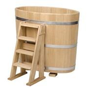 Купель дубовая овальная для бани и сауны 1000x750x1100 фото