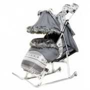 Санки-коляска Kristy Luxe Premium Серый фото