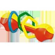 Погремушка гантелька с цветными колечками 0+ фото