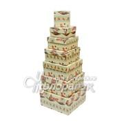 Коробка картонная цветная ККЦ №1 (7шт) квадрат(20/20/10см-8/8/4см) фото