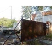 Откатные ворота из профнастила 4000х2500 фото