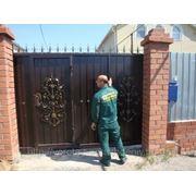 Ворота автоматические кованые откатные фото