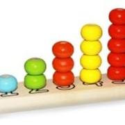 """Пирамидка деревянная """"Счеты"""", диаметр колец 30мм, окрашенная 5 цветов, 15 деталей фото"""