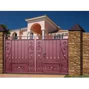 Ворота Классика со встроенной калиткой фото