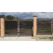 """Ворота распашные """"Эффект"""" (прямые) металлический каркас с использованием поликарбоната фото"""