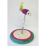 Игрушка-когтеточка для кошки Мышь сизалевая подставке фото