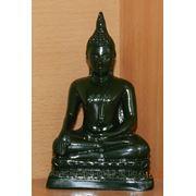 Статуэтка Будды черная глянец средняя. фото